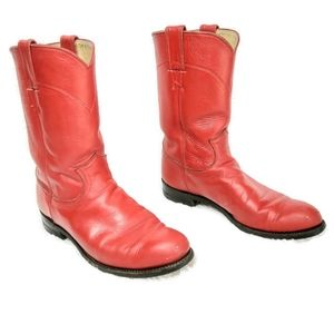 Justin Red Western Cowboy Leather Roper Boots 7.5